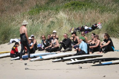Nick's lesson beach training Mission WOW women's getaway Catlins Surf