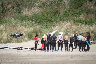 beach start beach training Mission WOW women's getaway Catlins Surf