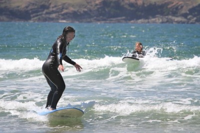 waves beach training Mission WOW women's getaway Catlins Surf