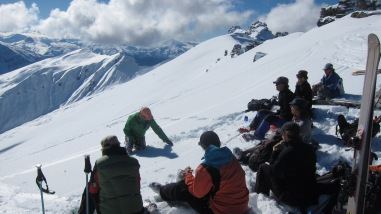 working lunch Treble Cone backcountry ski touring mission WOW women